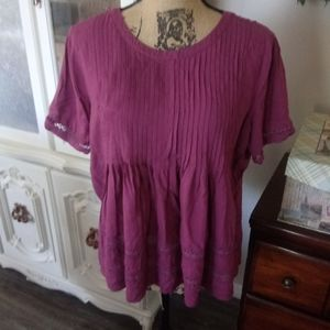 Purple Loft Blouse with Detailed Sleeves